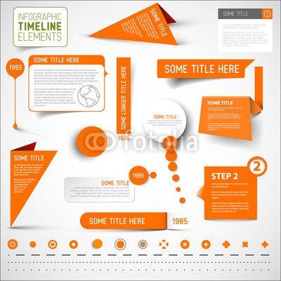 Vector Orange Infographic Timeline Elements  Template  Media
