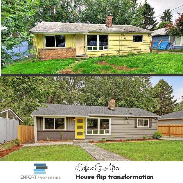 Before And After Seattle House Flip Rambler Transformed Greyhouse Yellowdoor Contempo Home Exterior Makeover Exterior Remodel Exterior House Renovation
