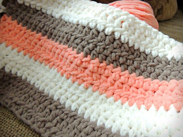 Coral Cream Tan Chunky Crochet Baby Blanket 22 Going On