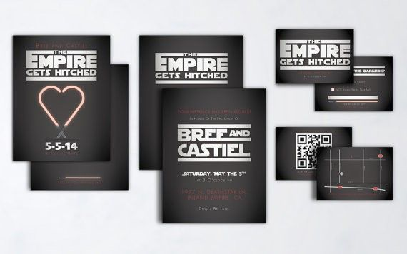 star wars wedding invitations by TheeAshleyDee Geeky Star Wars