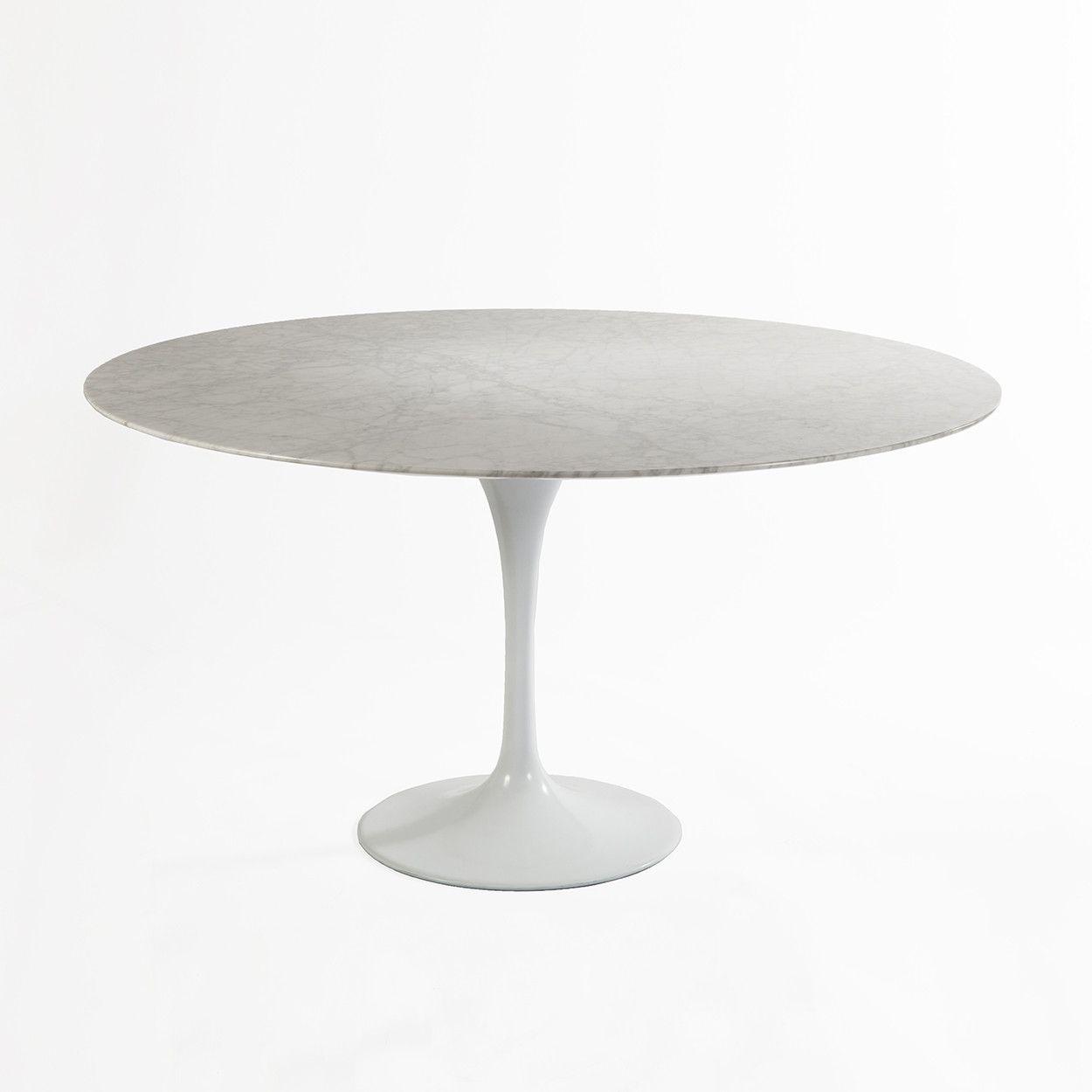 Mid Century Modern Reproduction Tulip Dining Table 60 Diameter Marble Inspired By Eero Saarinen