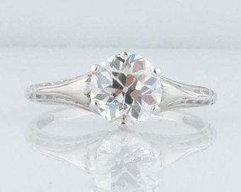 Antique Engagement Ring Edwardian Era 1.39 Old European Cut Diamond Filigree Solitaire in Platinum