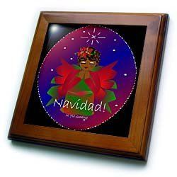 """African-American Christmas Angel Baby Girl Praying With Navidad Text - 8x8 Framed Tile by Yves Creations. $22.99. Keyhole in the back of frame allows for easy hanging.. Cherry Finish. Solid wood frame. Inset high gloss 6"""" x 6"""" ceramic tile.. Dimensions: 8"""" H x 8"""" W x 1/2"""" D. African-American Christmas Angel Baby Girl Praying With Navidad Text Framed Tile is measuring 8w x 8h x .75d. Made of solid wood with predrilled keyhole for easy wall mounting. Framed tile ..."""