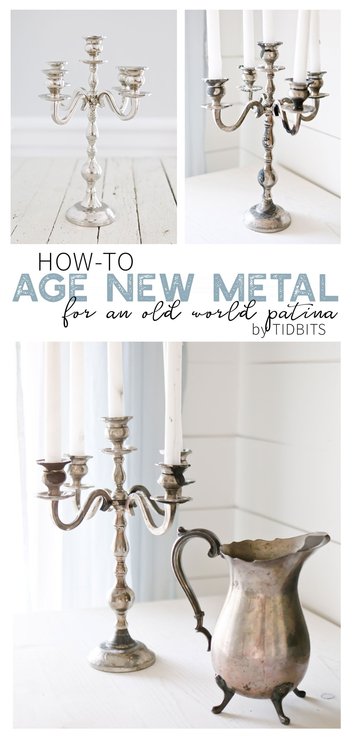 How to age new metal for an old world patina. See how we made a new shiny candelabra look vintage with this simple household ingredient. #camitidbits #agemetal #candelabra #vintage #vintagecandelabra #antiquecandelabra #antiquemetal #vintagemetal #vinegar #frenchvintage #frenchvintagedecor #bookreview #agemetalwithvinegar #patina #oldworldpatina