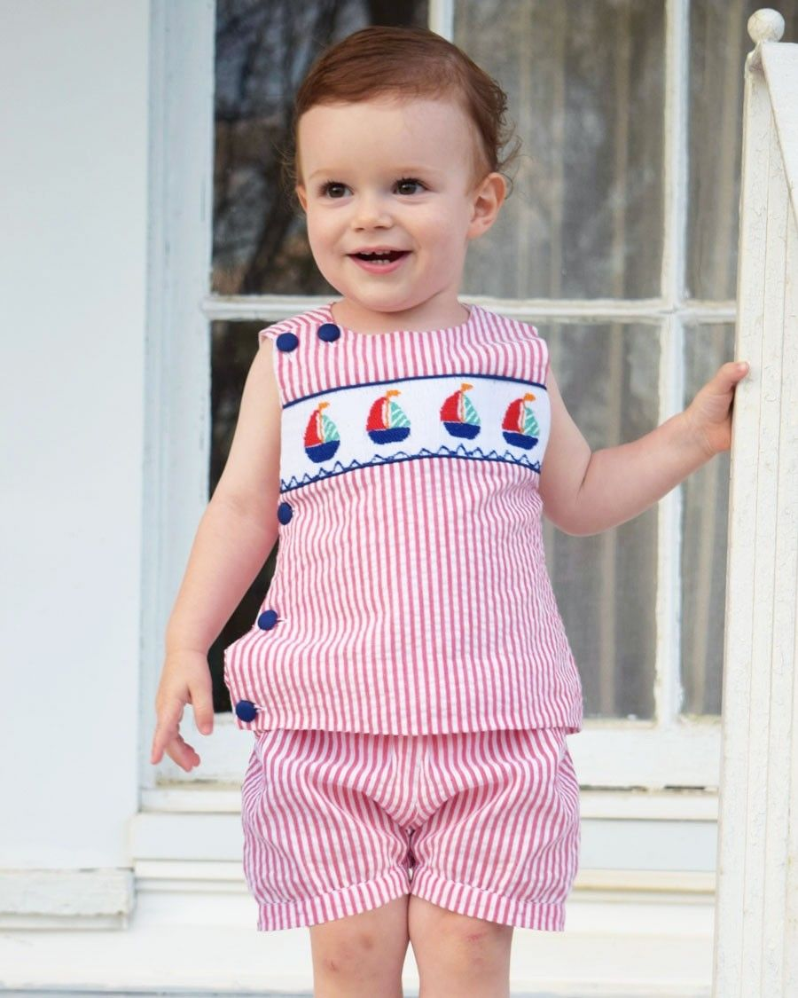 1bd9b6a5ce Our adorable Bowman shorts set with smocked sailboats! This red seersucker  shorts set has buttons