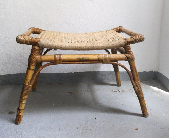 Vintage/Antique Egyptian Revival Style Woven Bamboo stool bench seat