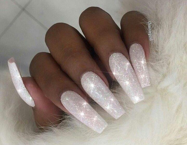 White Sparkly Nails White Glitter Nails White Sparkly Nails Long Acrylic Nails Coffin