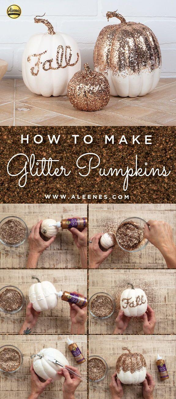 DIY Glitter Pumpkins  #DIYPumpkins #DIYFallDecor #DIYHalloweenDecor #GlitterCrafts #Aleenes #TackyGlue