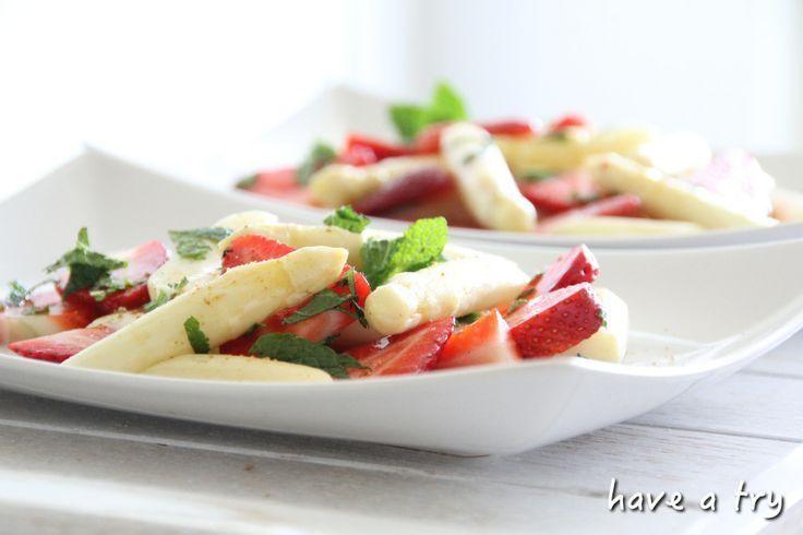 Spargelsalat mit Erdbeeren und frischer Minze (vegan, glutenfrei Spargelsalat mit Erdbeeren und frischer Minze (vegan, glutenfrei -