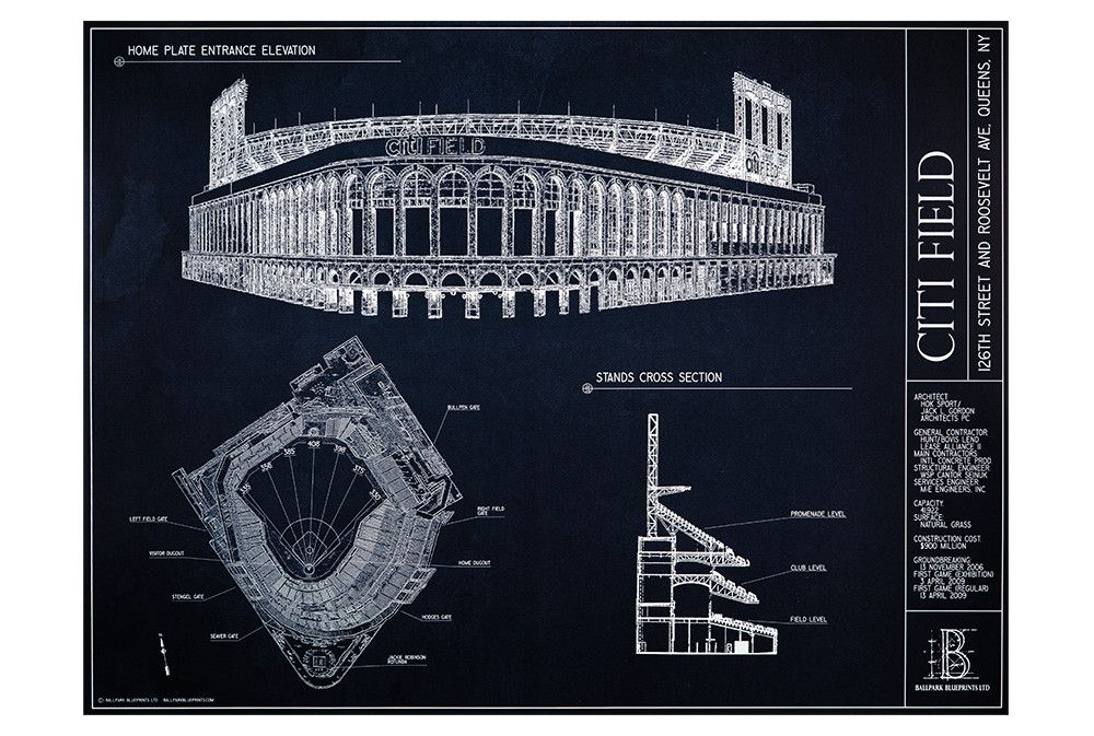 Citi field new york mets citi field new york mets from ballpark blueprints ballpark wall art baseball stadium malvernweather