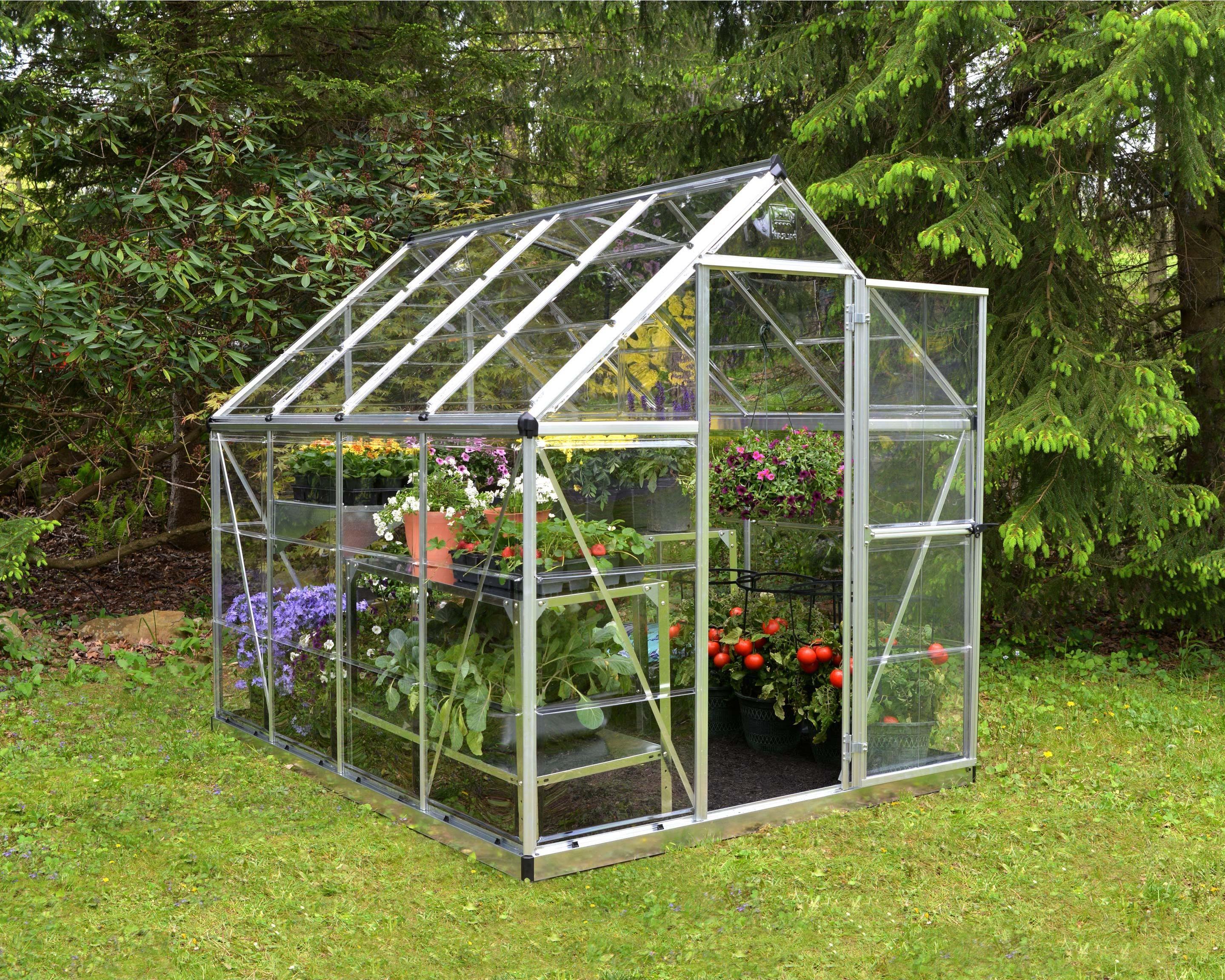 Serre De Jardin Argent Harmony 4 5 M Aluminium Et Polycarbonate Palram Serre Jardin Jardin Vert Et Jardinage De Serre