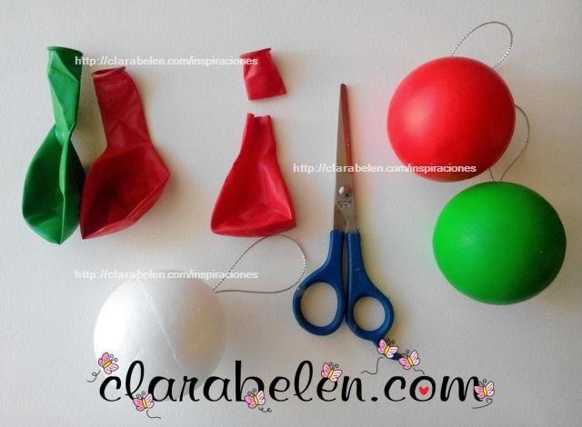 Bola de poliestireno y globos diy paso a paso decoraci n - Manualidades navidenas paso a paso ...