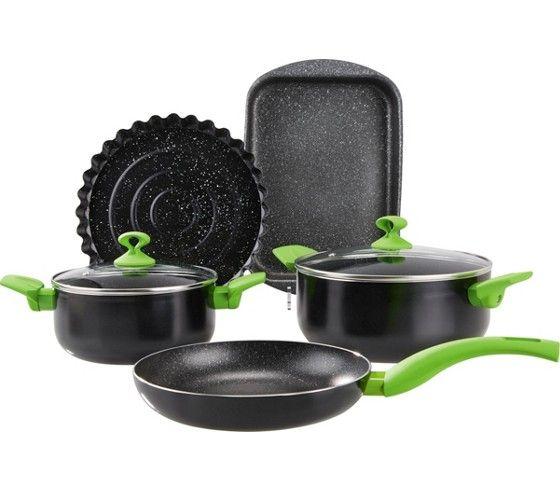 7-teiliges Kochtopfset aus Alu - ein Hingucker in Schwarz und Grün