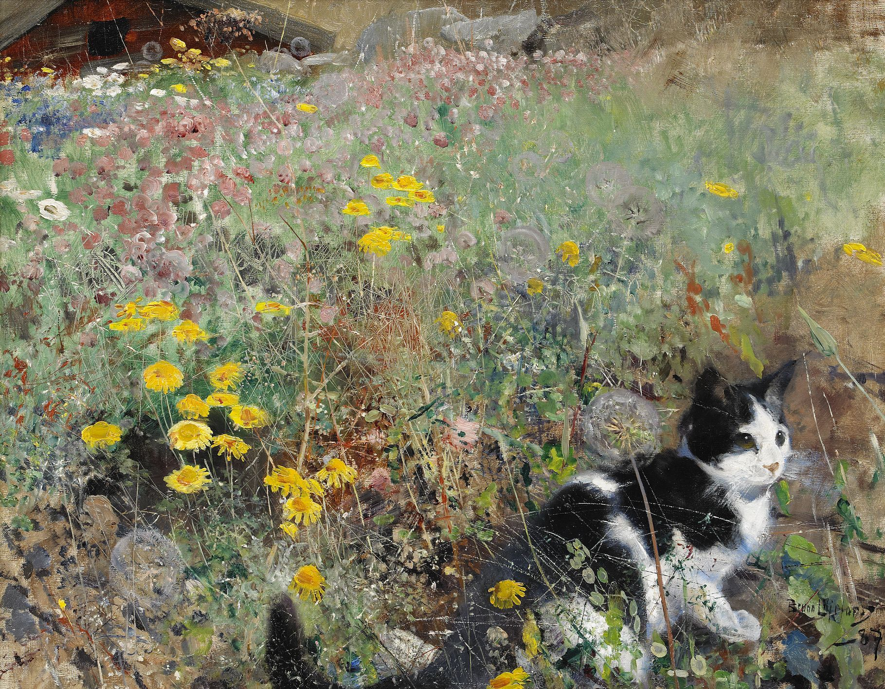 Bruno Andreas Liljefors (1860-1939) — Cat on Flowerbed, 1887 (1819×1416)