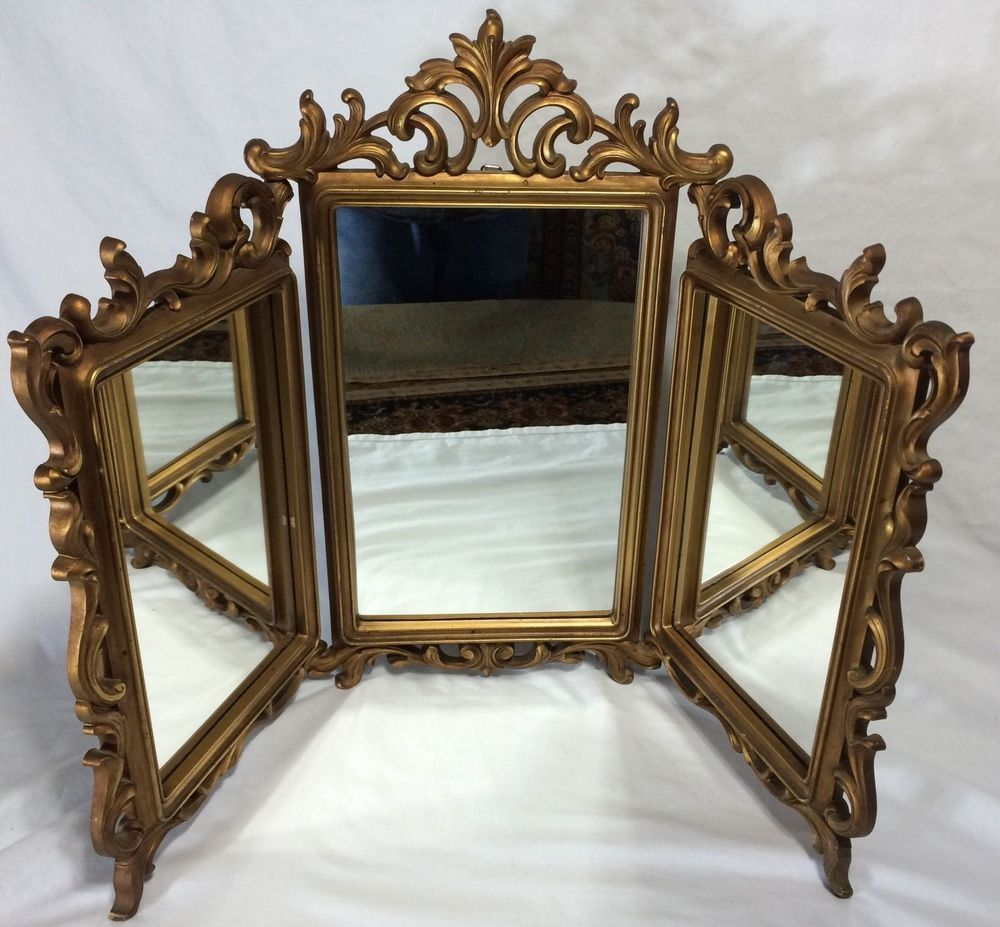 Vintage gold syroco trifold hollywood regency boudoir vanity vintage gold syroco trifold hollywood regency boudoir vanity mirror ornate wall rococo syroco geotapseo Gallery