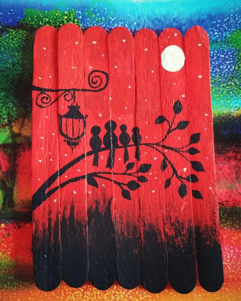 Ice Cream Stick Painting Guirlandas E Quadros In 2019