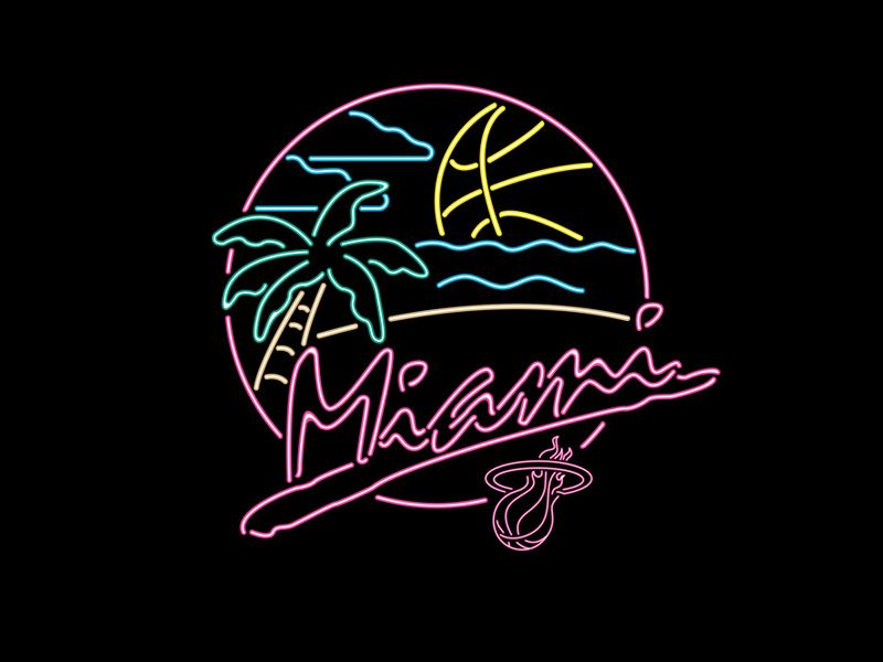 Miami Heat Beach Party On Behance Neon Signs Neon Art Miami Heat