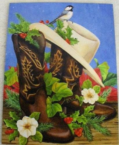 Western-Boots-Christmas-Cards-Set-12-Leanin-Tree-Jane-Maday-Cowboy-Hat-New - Western-Boots-Christmas-Cards-Set-12-Leanin-Tree-Jane-Maday-Cowboy