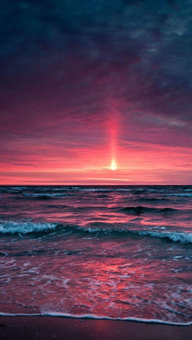 Dramatic Red Ocean Sunset IPhone 6 Wallpaper