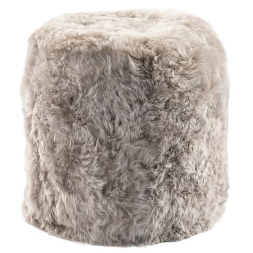 Brody Modern Classic Grey Short Wool Pouf