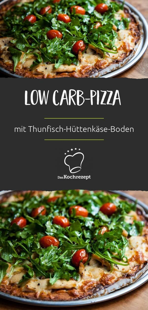 Low Carb-Pizza mit Thunfisch-Hüttenkäse-Boden