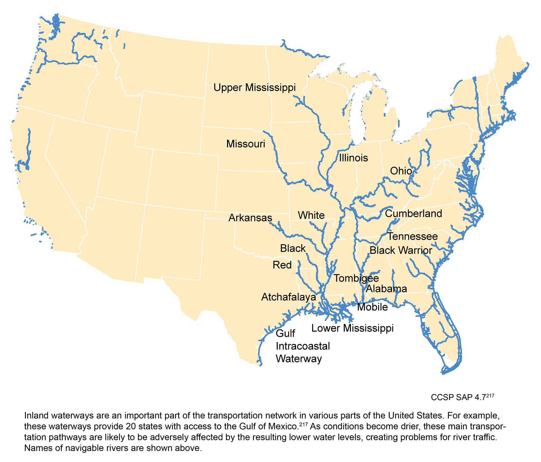 Inland waterways of the continental United States | MAP DATA ...