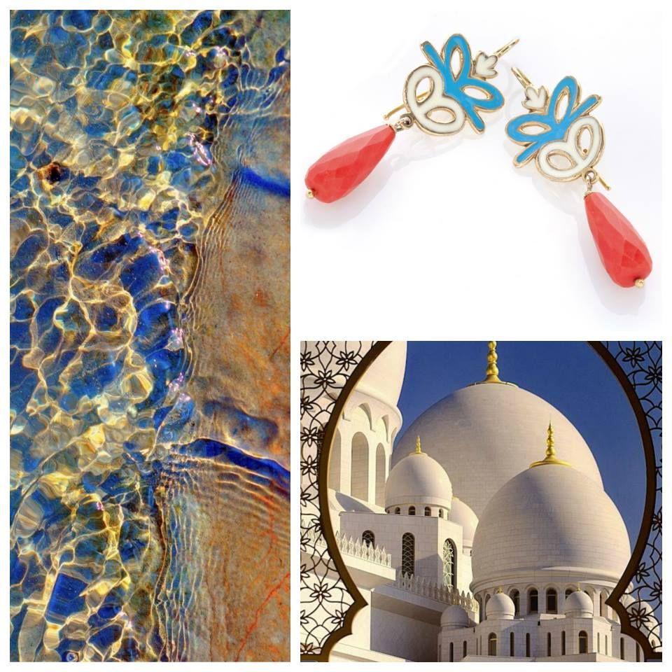 Oro di Sciacca. Orecchini in #corallo e smalto turchese. We love Sicily!