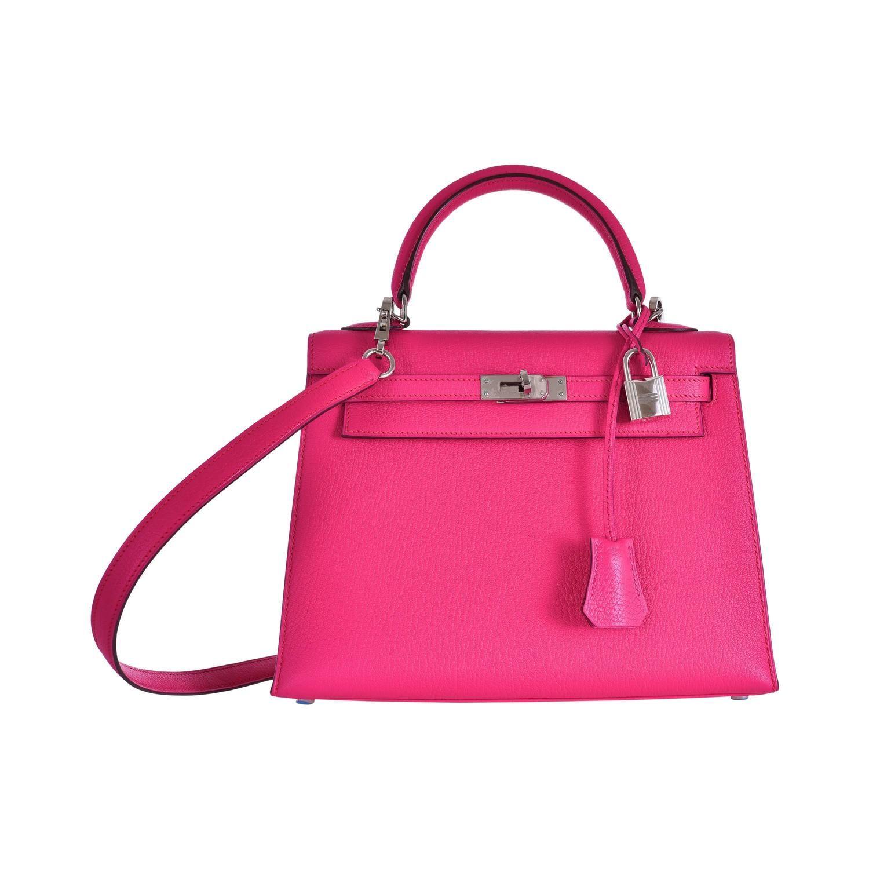 dabf94ca0438 Hermes Kelly 25cm Bag Pink Fuschia Sallier Chevre Goat skin Leather  JaneFinds