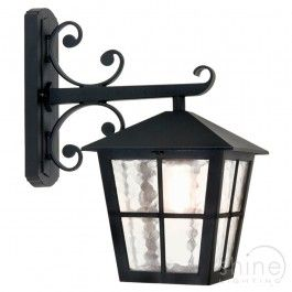 Traditional Black  Down Lantern Outdoor Wall Light One Lamp Lantern.