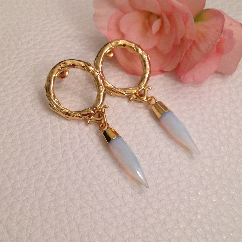 12mm Hypoallergenic Opal Gold Leaf Earrings White Opal Gold Leaf Stud Earrings