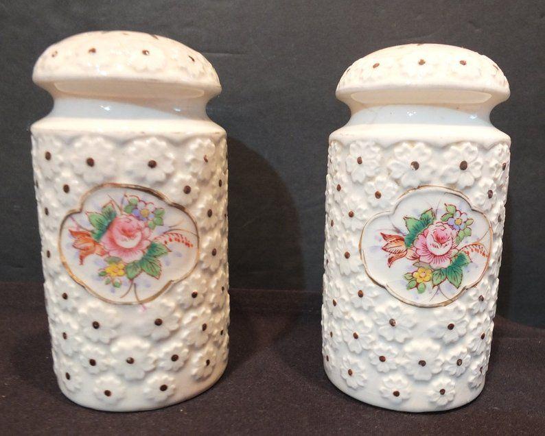 Red Bears Daisy Eyes Salt and Pepper Shaker Set Vintage Ceramic from Japan