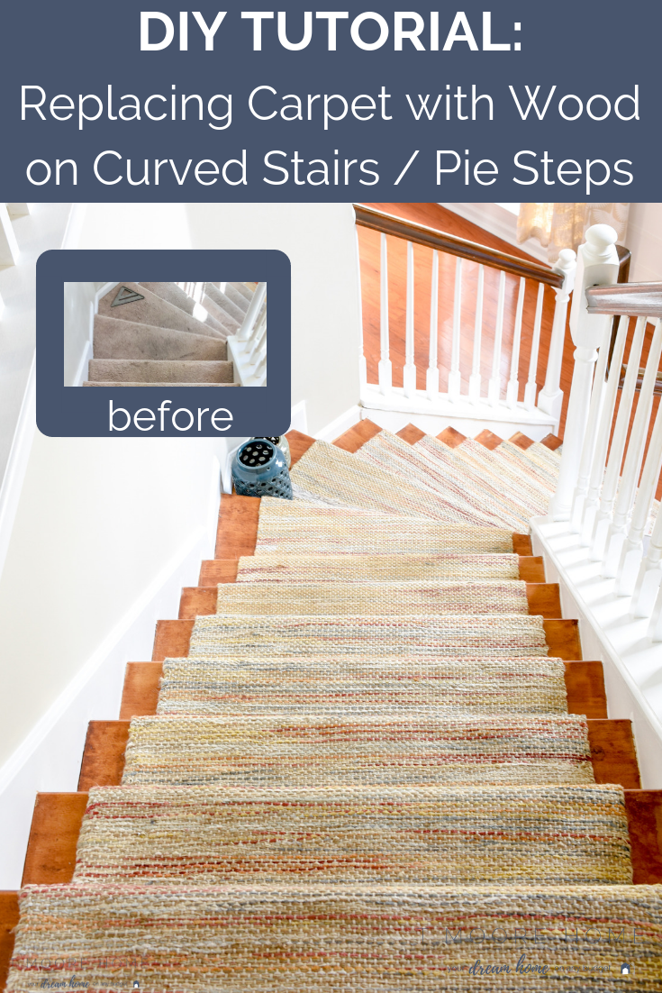 Diy Hardwood Staircase Makeover Replacing Carpet With Wood Treads