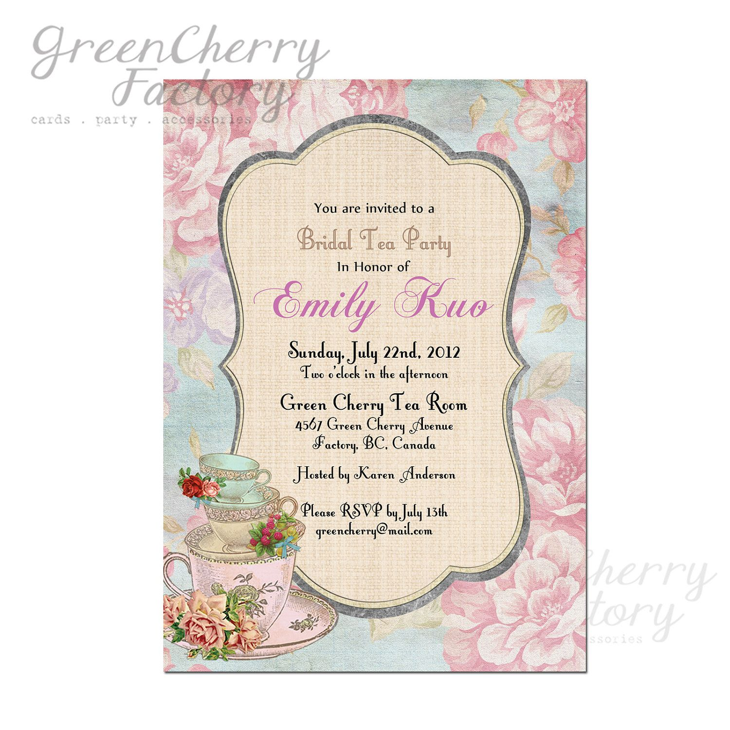 Vintage Theme Bridal Shower Bridal Shower High Tea Invitation - Vintage girl birthday invitation