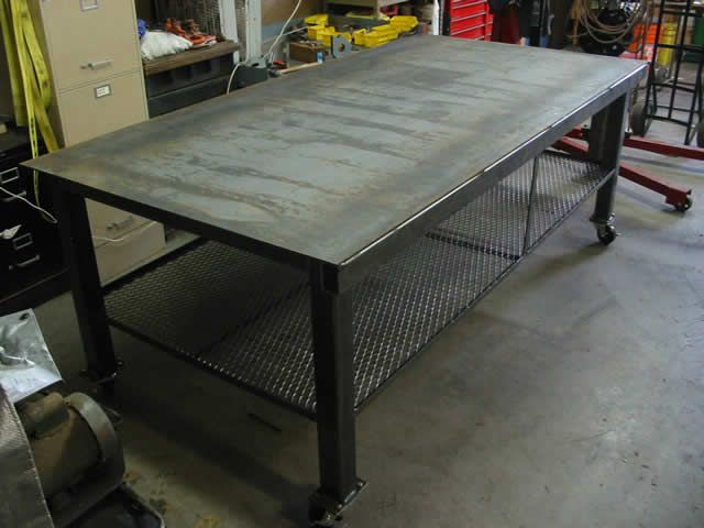 welding table this would be a good island with storage for pots and pans underneath