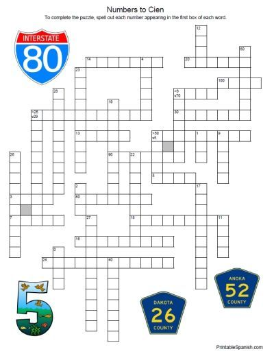 Printable Spanish Freebie Of The Day Numbers Crossword Puzzle 3