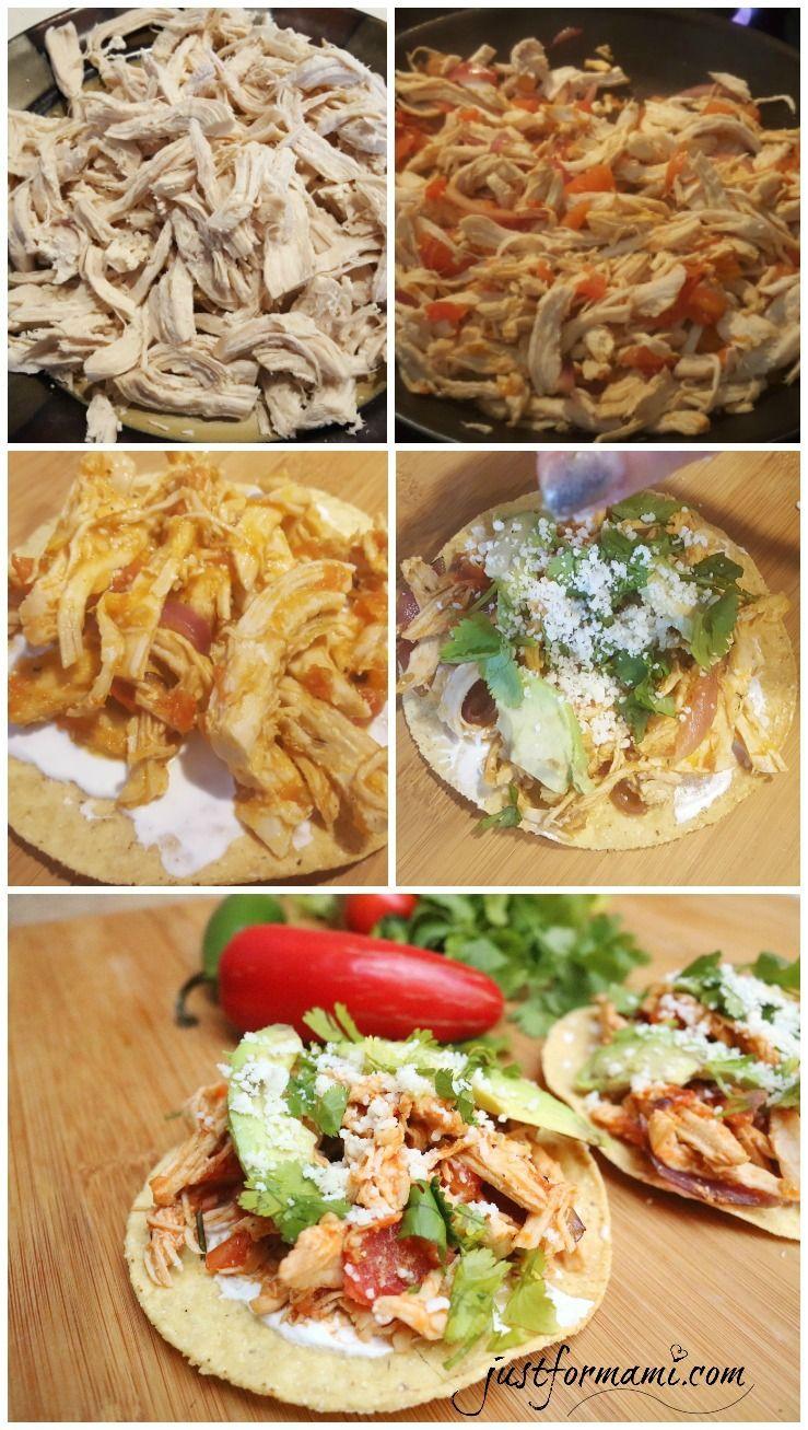 Tostadas de Tinga de pollo  5 de Mayo Comida Mexicana