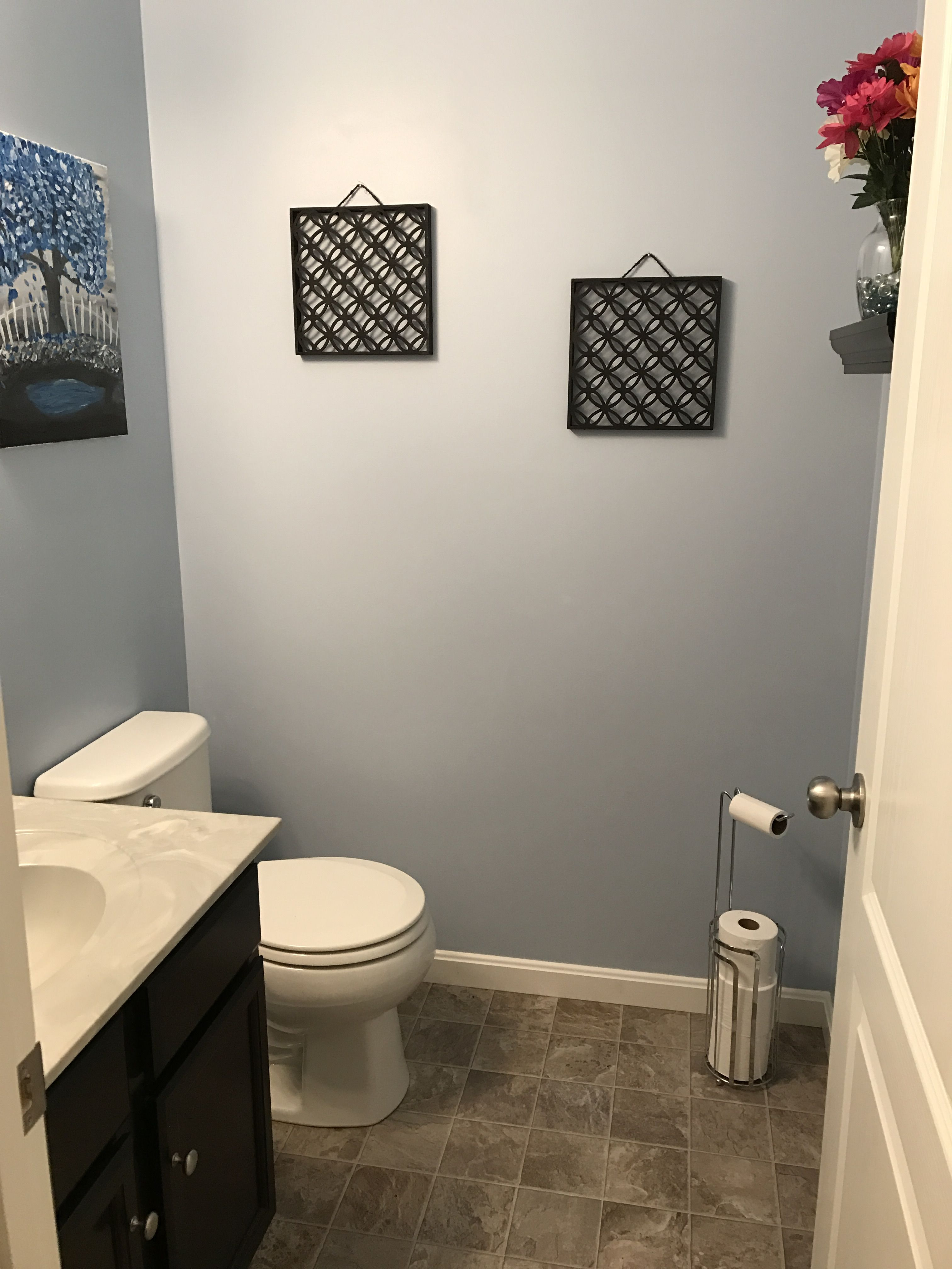 Our Powder Room Sherwin Williams Honest Blue Paint In A Small