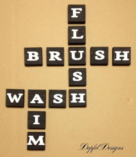 Bathroom Scrabble Wood Wall Decor - Flush Brush, Wash,Aim | Wall ...