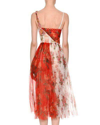 9fa366dcb1 B43BN Alexander McQueen Mixed Botanical   Rose Garden Organza Pleated  Corset Midi Dress