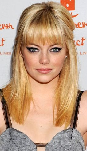 Straight Hairstyles With Bangs Best Emmastoneredcarpetblondehairstylestraighthairstylestraight