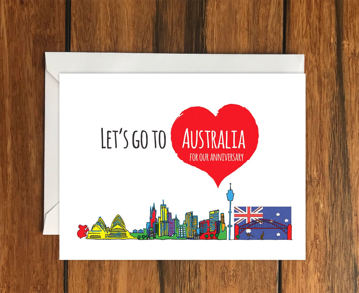 Lets go to australia for our anniversary blank greeting card a6 lets go to australia for our anniversary blank greeting card a6 holiday gift idea m4hsunfo