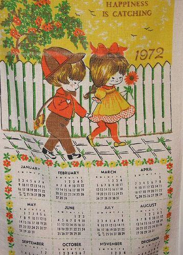 Vintage 1972 Calendar Towel Childhood Memories Pinterest