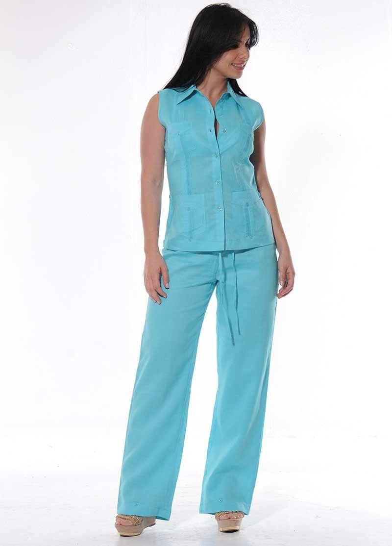 Guayabera Women Set Pants. Turquoise. Linen Pants set for women ...