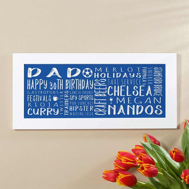 30th birthday gift for men of personalised panoramic word