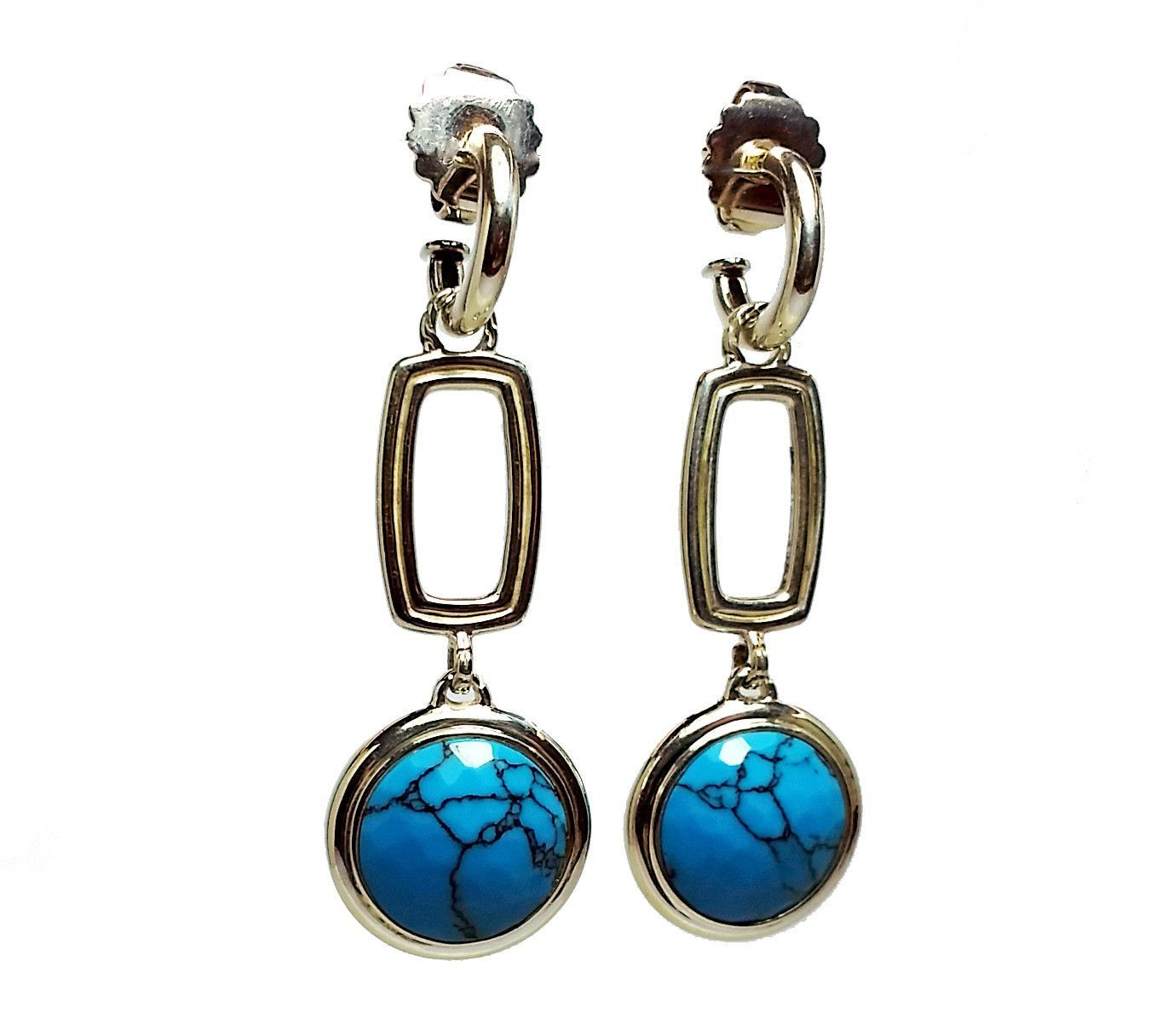 Bedeg Turquoise Round Drop Earrings