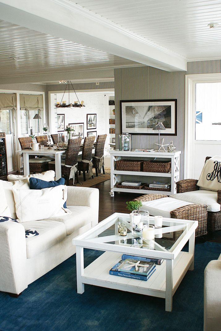 New England, inredning, vardagsrum, soffbord Inredning Pinterest Coastal, Living rooms and