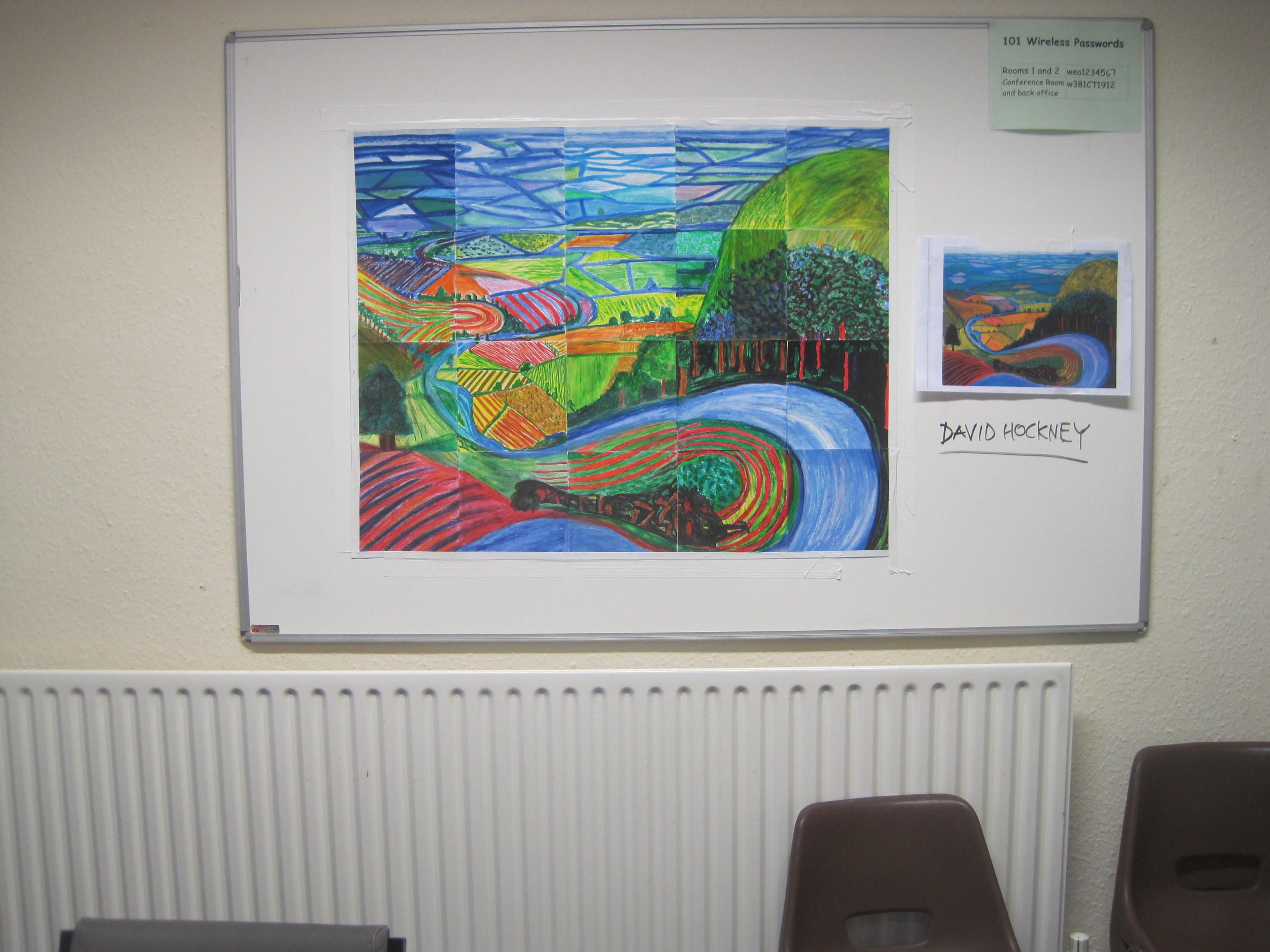 Collaborative David Hockney pic using pastels. WEA art group