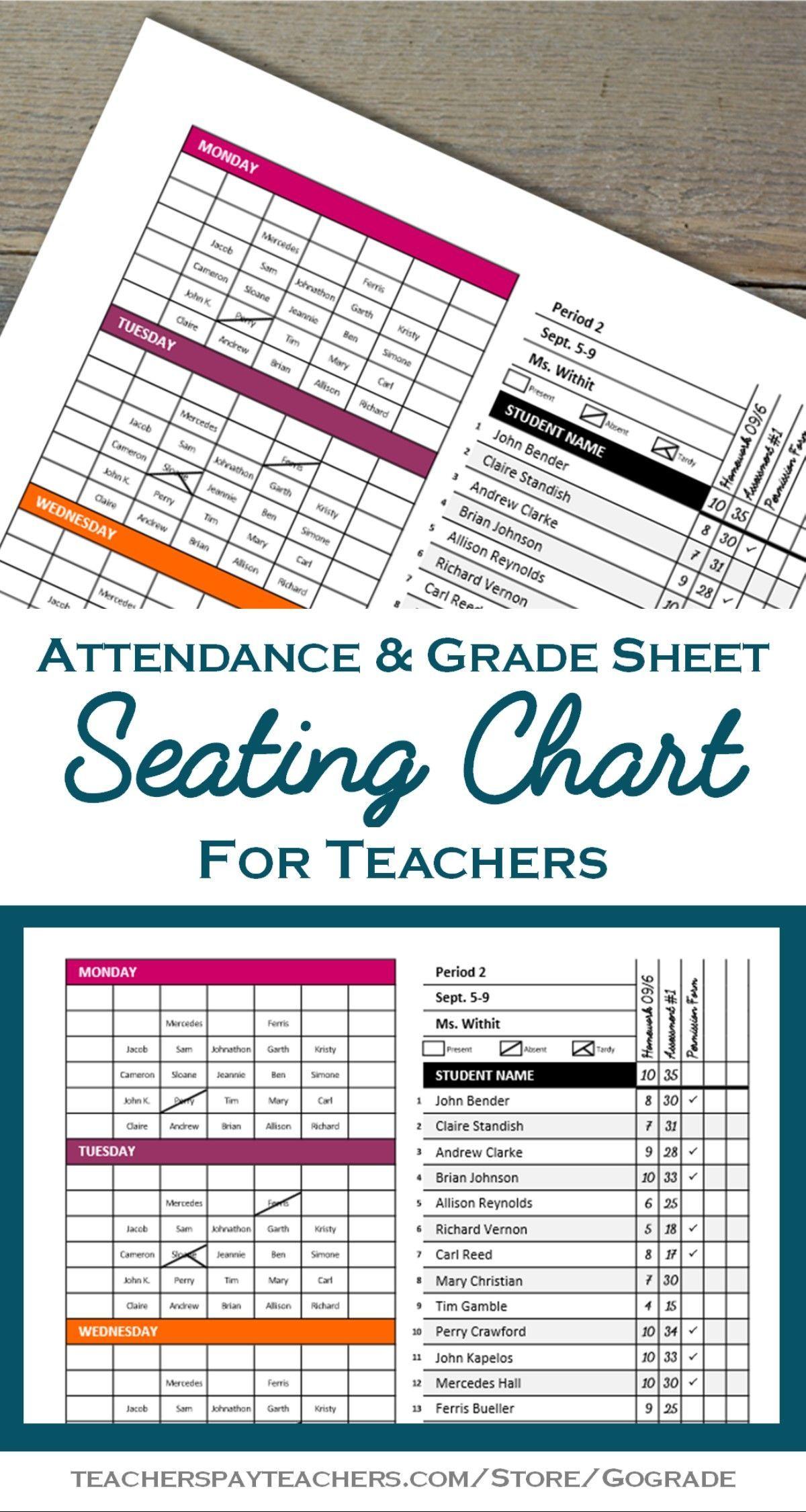 Classroom Seating Chart Attendance Grade Sheet Behavior Tracking Template Seating Chart Classroom Teacher Binder Middle School Classroom