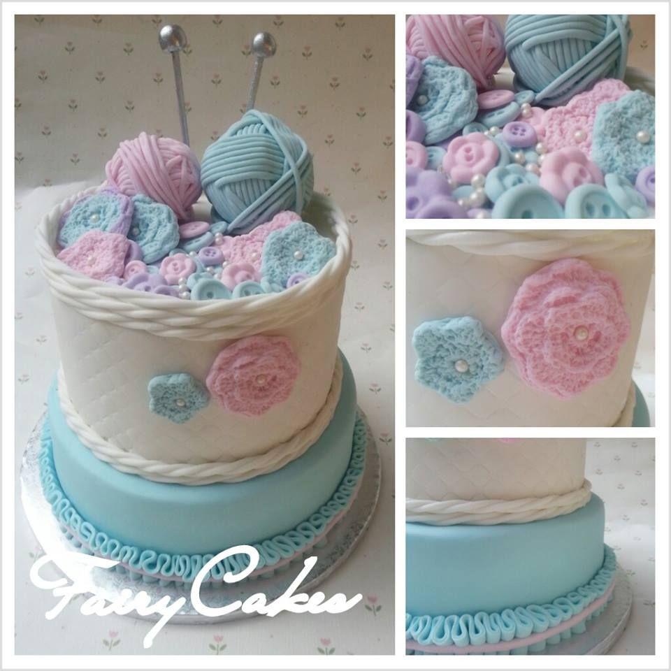 Knitting Cake Decorations : Fairycakes has made this gorgeous knitting basket cake