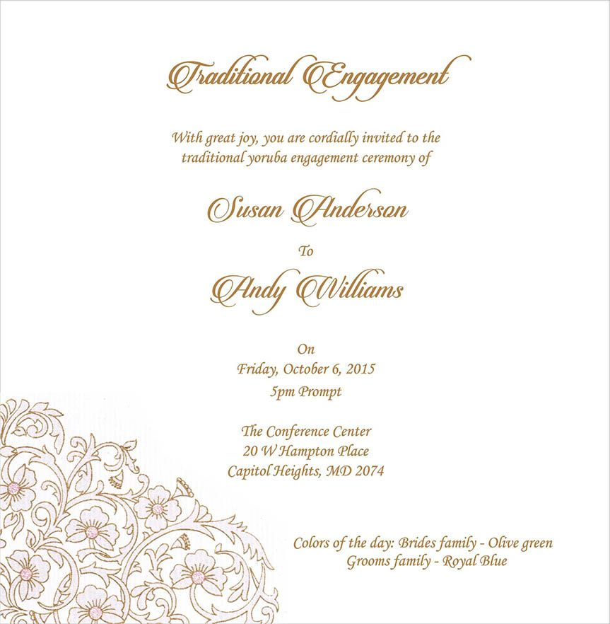 Wedding Invitation Wording For Engagement Ceremony In 2019
